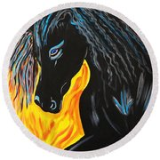 Black Beauty Round Beach Towel by Nora Shepley