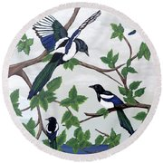Black Billed Magpies Round Beach Towel
