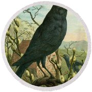 Black Bird Round Beach Towel
