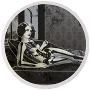 Black Blanche Round Beach Towel