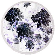 Black Blooms I Round Beach Towel