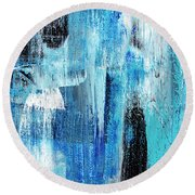 Round Beach Towel featuring the painting Black Blue Abstract Painting by Christina Rollo