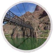 Black Bridge Over The Colorado River At Bottom Of Grand Canyon Round Beach Towel
