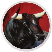 Black Bull Round Beach Towel