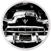 Black Cadillac Round Beach Towel