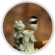Black-capped Chickadee And Frog Round Beach Towel