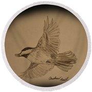 Black-capped Chickadee Round Beach Towel