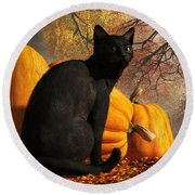 Black Cat At Halloween Round Beach Towel by Daniel Eskridge