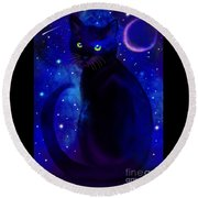 Round Beach Towel featuring the painting Black Cat Blues  by Nick Gustafson