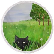 Black Cat In A Meadow Round Beach Towel