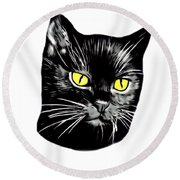 Black Cat Molly Round Beach Towel