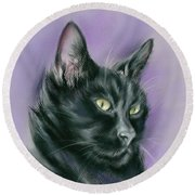 Black Cat Sith Round Beach Towel