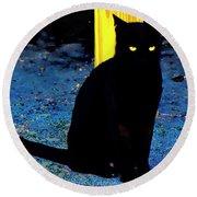 Black Cat Yellow Eyes Round Beach Towel by Gina O'Brien
