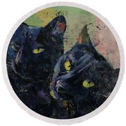 Black Cats Round Beach Towel by Michael Creese