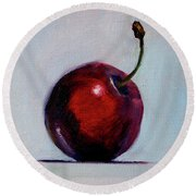 Round Beach Towel featuring the painting black Cherry by Nancy Merkle