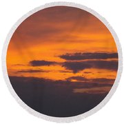 Round Beach Towel featuring the photograph Black Cloud Sunset  by Don Koester