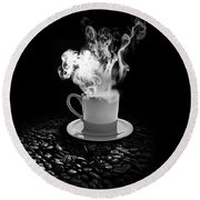 Black Coffee Round Beach Towel
