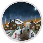 Round Beach Towel featuring the painting Black Country Winter by Ken Wood