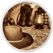 Black Cowboy Hat In An Old Barn Round Beach Towel