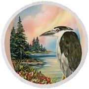 Flying Lamb Productions                     Black Crowned Heron Round Beach Towel