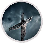 Black Crucified Jesus Round Beach Towel
