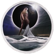 Black Star Dreams Round Beach Towel