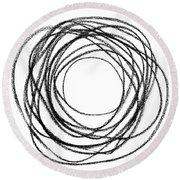 Black Doodle Circular Shape Round Beach Towel by GoodMood Art