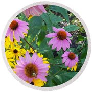 Black Eye Susans And Echinacea Round Beach Towel