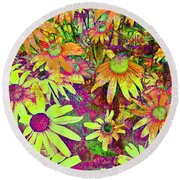 Black-eyed Susan   Abstract  Round Beach Towel