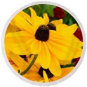 Round Beach Towel featuring the digital art Black-eyed Susan Floral by Mas Art Studio