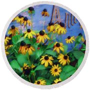 Black-eyed Susans At The Bag Factory Round Beach Towel