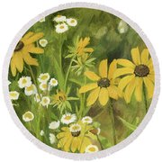 Black-eyed Susans In A Field Round Beach Towel