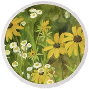Round Beach Towel featuring the painting Black-eyed Susans In A Field by Laurie Rohner