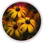 Black Eyed Susans - Vibrant Yellow Daisy Flowers Warm Colors Still Life Garden Decor Round Beach Towel