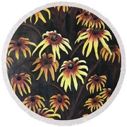 Round Beach Towel featuring the painting Black Eyed Susie by Bonnie Heather