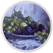 Black Figs And Grape Round Beach Towel
