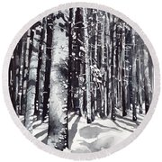 Black Forest Watercolor Round Beach Towel