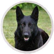 Black German Shepherd Dog II Round Beach Towel