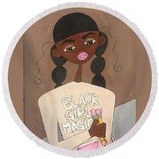 Black Girl Magic Round Beach Towel