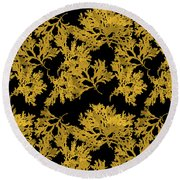 Round Beach Towel featuring the mixed media Black Gold Leaf Pattern by Christina Rollo