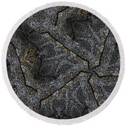 Black Granite Kaleido #1 Round Beach Towel by Peter J Sucy