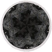 Black Granite Kaleido #2 Round Beach Towel by Peter J Sucy