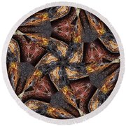 Black Granite Star Kaleido Round Beach Towel by Peter J Sucy