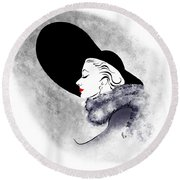 Round Beach Towel featuring the digital art Black Hat Red Lips by Cindy Garber Iverson