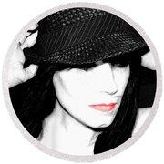 Black Hat Round Beach Towel by Tbone Oliver