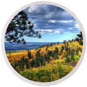 Round Beach Towel featuring the photograph Black Hills Autumn by Fiskr Larsen