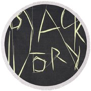 Black Ivory Title Page Round Beach Towel