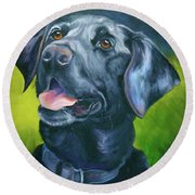 Black Lab Forever Round Beach Towel