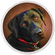 Round Beach Towel featuring the painting Black Lab Goes To The Studo by Joseph J Stevens