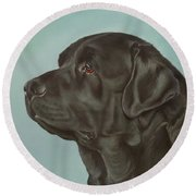 Black Labrador Dog Profile Painting Round Beach Towel